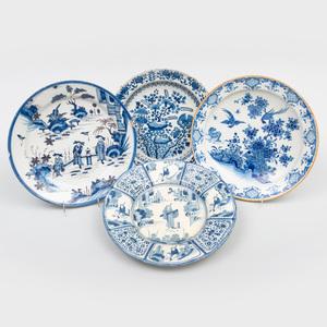 Three Dutch Delft Blue and White Dishes