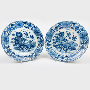 Pair of Dutch Delft Blue and White Large Dishes