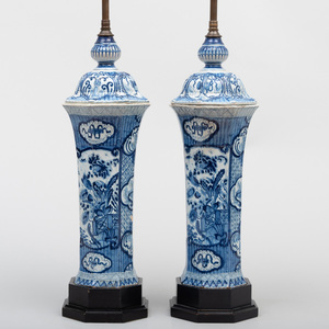 Pair of Dutch Delft Octagonal Beaker Vases and Covers Mounted as Lamps