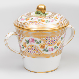 Paris Porcelain Two Handled Cup and Cover