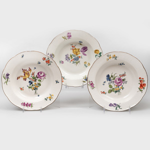 Three Meissen Porcelain Soup Plates
