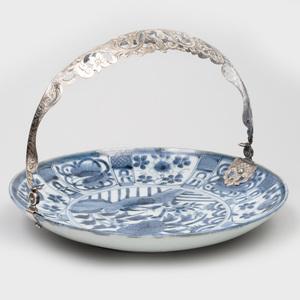 Dutch Silver-Mounted Japanese Porcelain Blue and White 'Arita' Dish