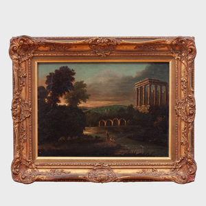 European School: Classical Landscape with Figures and Ruins