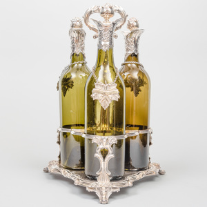 Silver Plate Bottle Caddy and Three Silver-Mounted Bottles