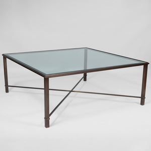 Modern Glass and Bronze Square Low Table