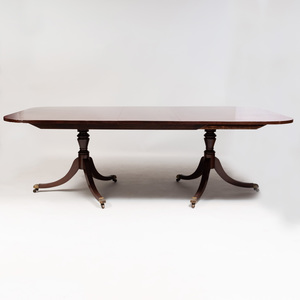 George III Style Mahogany Double Pedestal Dining Table