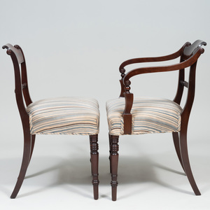 Set of Eight Regency Style Mahogany Dining Chairs