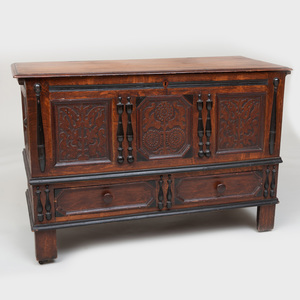 Rare Connecticut Pine and Oak Carved Hadley Blanket Chest