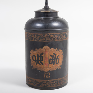 Victorian Tôle Tea Canister Mounted as a Lamp