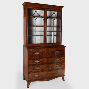 George III Inlaid Mahogany Secretaire Bookcase