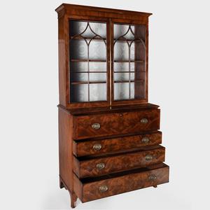 George III Inlaid Mahogany Secretaire Bookcase