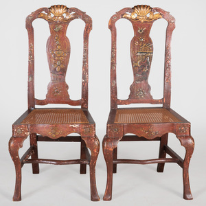 Pair of Dutch Provincial Japanned Side Chairs