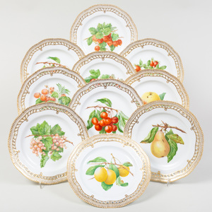 Set of Ten Royal Copenhagen Porcelain 'Flora Danica' Plates