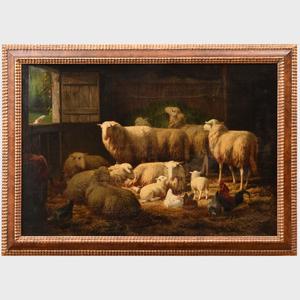 European School: Sheep in a Barn