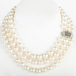 Triple Strand Cultured Pearl Necklace with a Platinum and Diamond Clasp
