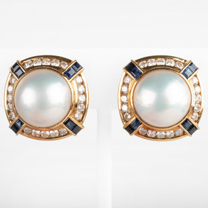 Pair of Tiffany & Co. Mobe Pearl, Diamond and Sapphire Ear Clips