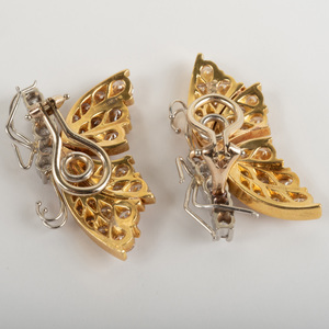 Pair of 18k Yellow Gold, 14k White Gold and Diamond Butterfly Ear Clips