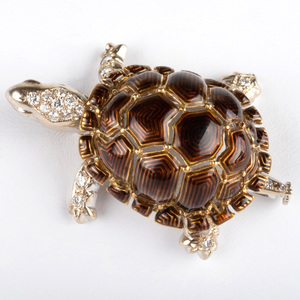 Italian 18k White and Yellow  Gold, Enamel and Diamond Turtle Pin