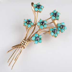 Retro 14k Gold, Turquoise and Sapphire Flower Pin