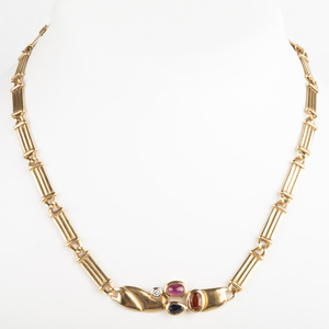 Manfredi 18k Gold and Colored Stone Necklace