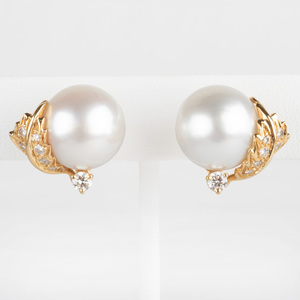 Pair of Seaman Schepps 18k Gold, South Sea Cultured Pearl and Diamond Ear Clips