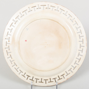 Set of Six Wedgwood Transfer Printed and Enriched Creamware Plates with Reticulated Rims