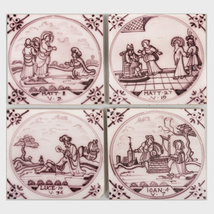 Group of Four Dutch Manganese Delft Tiles Depicting Saints