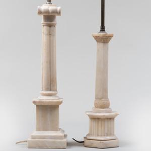 Two Alabaster Columnar Lamps