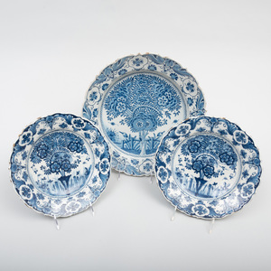 Group of Three Delft Plates