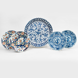 Group of Four Delft Plates and a Lobed Dish