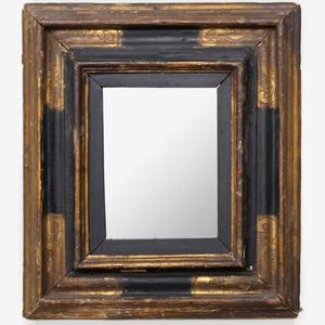 Small Italian Baroque Style Giltwood and Ebonized Mirror
