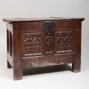 English Gothic Carved Oak Chest