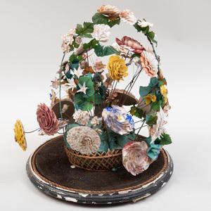 Folk Art Shell and Silk Still Life