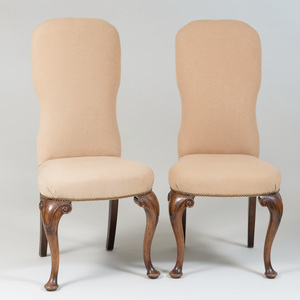 Pair of Queen Anne Style Walnut Side Chairs