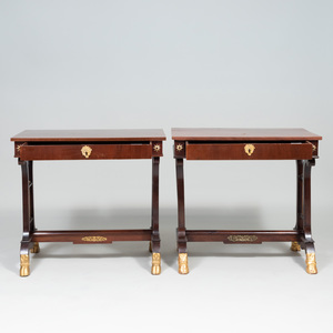 Pair of North European Neoclassical Gilt-Metal-Mounted Mahogany and Parcel-Gilt Console Tables