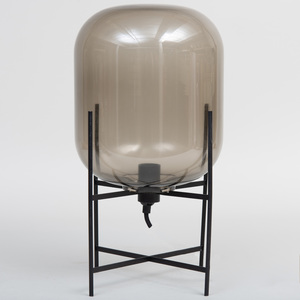 Small Modern Smoke Glass and Metal Lamp