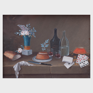 Attributed to Paul Lelong (1799-1846): Still Life with Bread Basket; and Still Life with Playing Cards