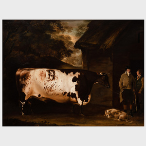 Thomas Weaver (1774-1843): A Bull and Figures Outside a Barn in a Wooded Landscape