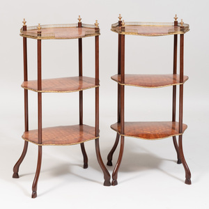 Pair of Napoleon III Style Gilt-Metal-Mounted Kingwood and Tulipwood Parquetry Étagères