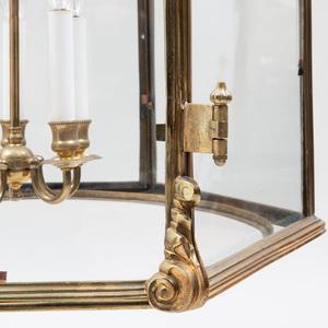 Large Regency Style Brass Hexagonal-Shaped Five-Light Hall Lantern