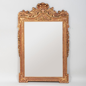 Large Carved Wood and Gilt Metal Over Mantel Mirror