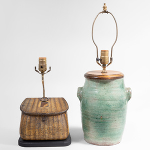 Huntly & Palmer Creel Form Biscuit Tin and a Pottery Crock Each Mounted as Lamps