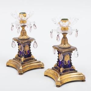 Pair of Regency Cobalt and Gilt-Metal Candlesticks