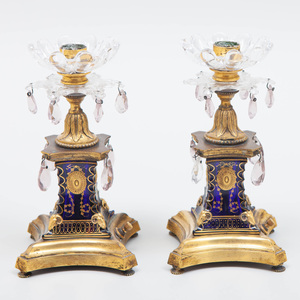 Pair of Regency Cobalt and Gilt-Metal Candlesticks