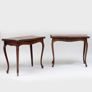 Fine Pair of George III Serpentine-Fronted Carved Mahogany Card Tables