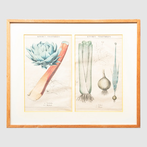 English School: Kitchen Vegetables: A Group of Six Prints