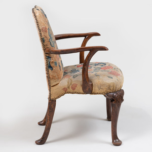 George I Walnut Needlework Upholstered Armchair