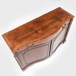 George III Serpentine-Fronted Inlaid Mahogany Cabinet