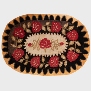 Small American Floral Hooked Rug