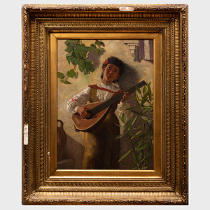 Atrributed to Edwin Harris (1855-1906): Gypsie Guitar Player